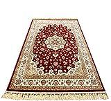 Alfombra de seda-Wilton tejido de algodón puro de la seda de la onda tradicional de seda clásico de la sala de estar Mesa de dormitorio beige patrón oro rojo marrón Carpet (1001R),5.2 feet * 7.5 feet
