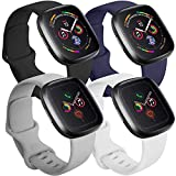 Tobfit 4 Pack Compatible with Apple Watch Band 38mm 42mm 40mm 44mm, Soft Silicone Replacement Band Compatible with iWatch Series 5 4 3 2 1 (Black/Gray/White/Navy Blue, 42mm/44mm S/M)