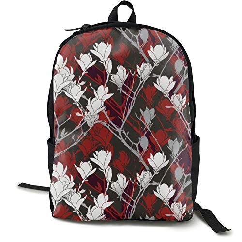 Lightweight Backpack Rucksack Foldable Ultralight Packable Backpack,Black White Gray & Red Floral Unisex Durable Handy Daypack for Travel & Outdoor Sports