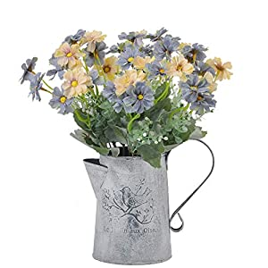 cn-Knight Artificial Wild Flower Cosmos 6pcs 13 Inch Coreopsis for Wedding Bridal DIY Bouquet Home Décor Centerpieces(Blue and White)