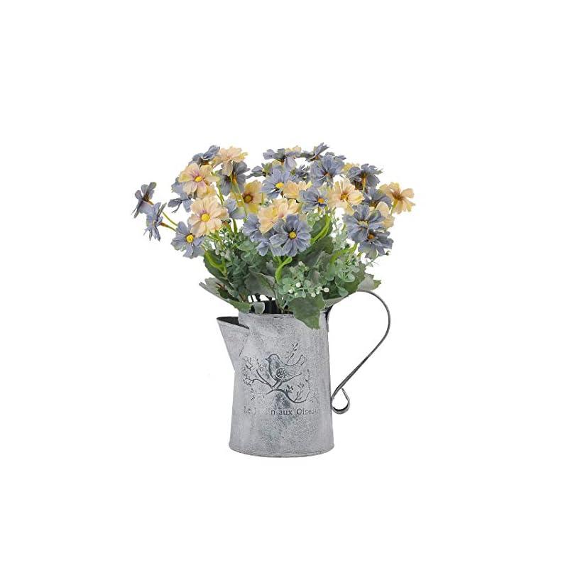 silk flower arrangements cn-knight artificial wild flower cosmos 6pcs 13 inch coreopsis for wedding bridal diy bouquet home décor centerpieces(blue and white)
