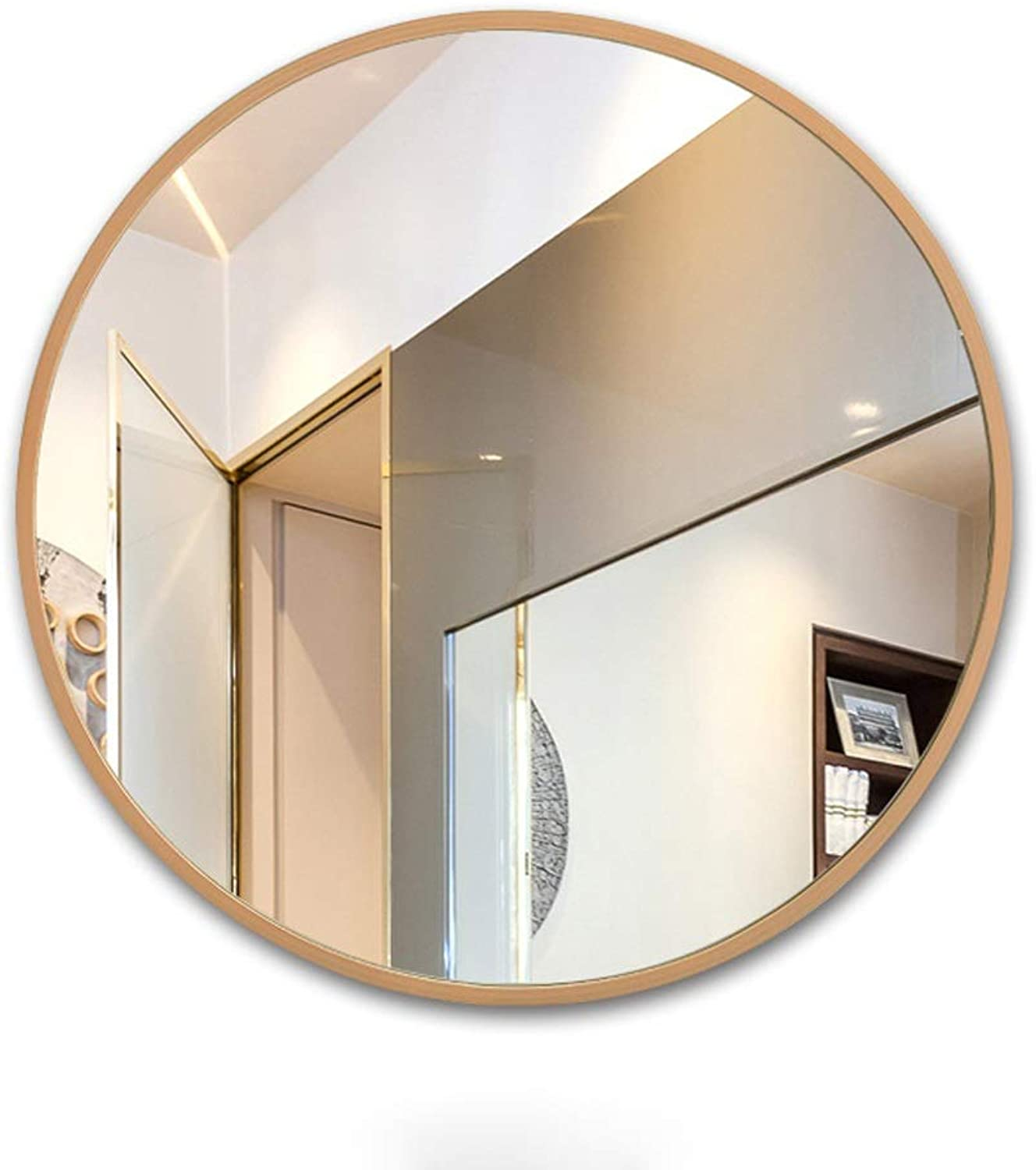 HELIn Wood Circle Frame Wall Mirror   Contemporary Premium Silver Backed Floating Round Glass Panel   Vanity, Bedroom, or Bathroom   Hanging (color   Wood, Size   60CM60CM)