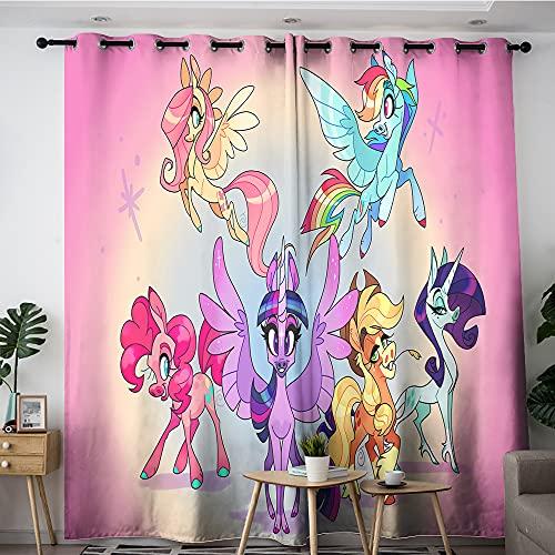 My Little Pony Cortinas My Little Pony Seis protagonistas juntos Sala de estar dormitorio ventana cortinas para decoración del hogar 157,5 x 182,8 cm