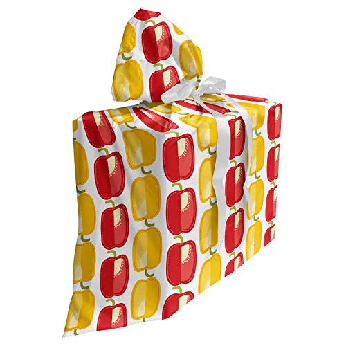 ABAKUHAUS Peper Cadeautas voor Baby Shower Feestje, Bulgaarse Vegetable Pattern, Herbruikbare Stoffen Tas met 3 Linten, 70 cm x 80 cm, Geel Groen Vermilion