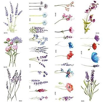 COKTAK 12Pieces/Lot 3D Watercolor Lavender Flower Temporary Tattoos For Women Body Art Arm Fake Flora Adults TattooSticker Waterproof Girls Tatoos