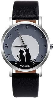 Ladies Wrist Watch,Hosamtel Womens Cute Cat Faux Pattern Leather Analog Quartz Watch