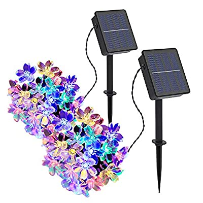 Solar Strings Lights 2 Pack, Outdoor Solar Flower String Lights 23ft 50 LED Waterproof Garden Lights for Garden Decorations,Yard,Lawn,Party and Holiday Decorations