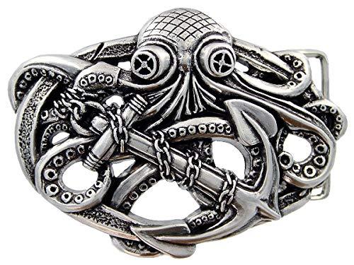 Unique Punk Buckle 3D Antique Octopus Boat Anchor Belt Buckle fits 1-1/2' Belt Strap