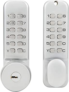 Key Double‑Sided Mechanical Password Lock, Keypad Deadbolt Lock 81 x 60 x 57mm No Need Battery Or Wired Power Knob Interchang