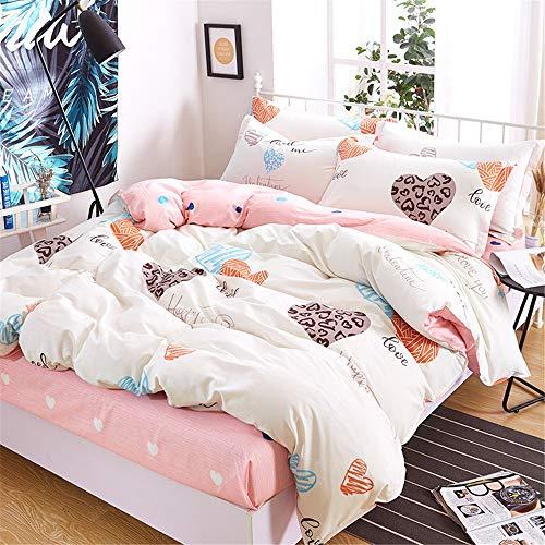 Madeinely Dekbedovertrek Sets Print Super Zachte 4PC Bed Sheets Set Ademend, Eenvoudige pasvorm, Gemakkelijk te verzorgen, Betere Slaap Gids 3 Kleuren Duurzaam en Comfortabel