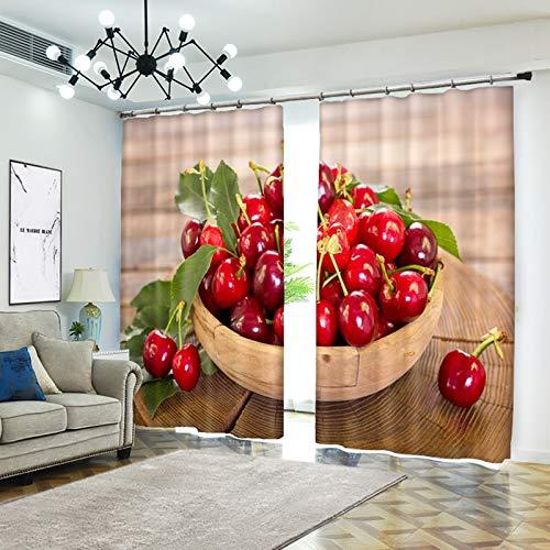AmDxD Cortinas de poliéster para ventana, 2 paneles, para dormitorio, cesta de frutas, cerezas, cortinas, 200,3 cm de ancho x 222,8 cm de alto