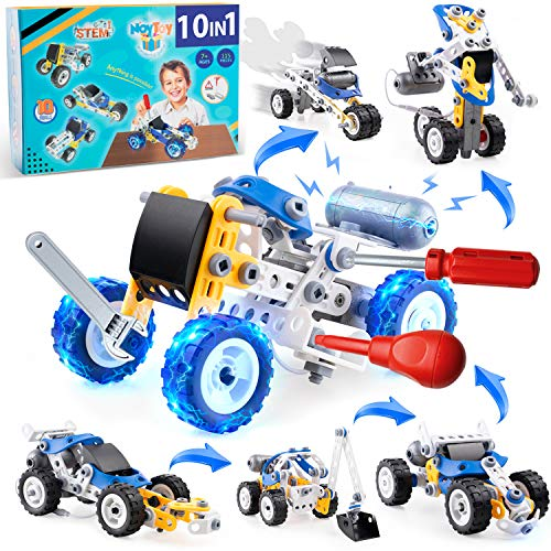 Erector Sets for Boys with Electric Power Motor , STEM Building Toys 10IN1 , Engineering Toys for Kids Age 7 8 9 10 11 12 ,Motorized Building Toys, Build and Play