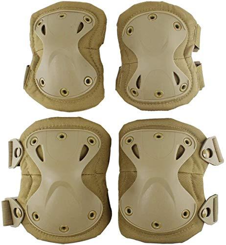 Rodilleras Tácticas Militares y Coderas Protección de Camuflaje, Rodilleras para Deportes al Aire Libre CS Caza, Paintball, Tiro