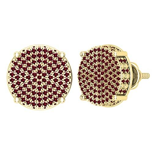 Dazzlingrock Collection Pendientes redondos de 0,50 quilates (quilates) de diamante rojo redondo para mujer, círculo pavimentado con tuerca de 1/2 quilates, oro amarillo de 14 quilates