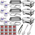 "Chafing Dish Buffet Set w/Fuel - Folding Frame + Water Pans + Food Pans 8qt + Lids + 6 Fuel Holders + 12 Fuel Cans + Serving Utensils (15"" Perforated spoon + 15"" Solid Spoon + 9"" Tong) - 3 Warmer Kit,"