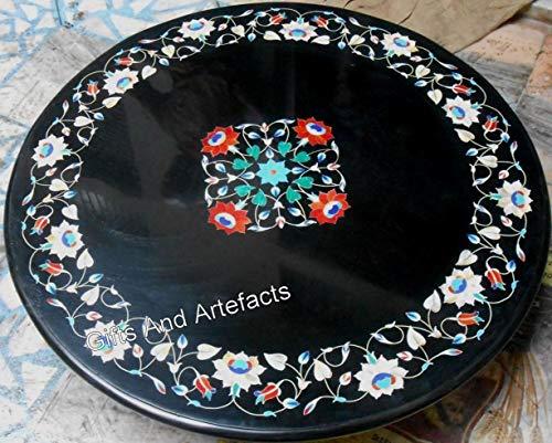 Gifts And Artefacts Table Basse en marbre Noir avec Pierres Semi-précieuses Art Floral pour Ajouter du Roi à Votre mobilier de Maison, 76,2 cm Arrondi