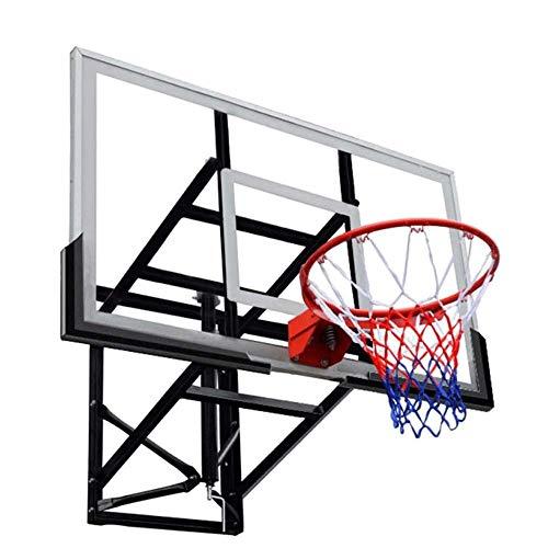 Mnjin Soporte de Baloncesto montado en la Pared para Exteriores, aro de Baloncesto de Vidrio Templado Ajustable en Altura para Interiores y Exteriores, Rango de elevación 70 cm, Canasta de Anillo