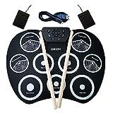 Elisson 1992 Portable Electronic Drum Set, USB Power 9 Pad Foldable Practise Digital Drum Kit Musical...