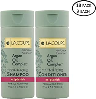 Lacoupe Shampoo and Conditioner - Set of 18 0.75Oz each - 9 Each Shampoo and 9 Each Conditioner Total 13.5 Oz