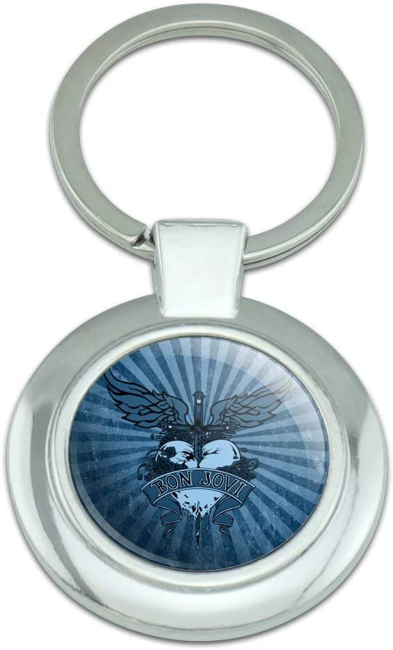 Bon Jovi Heart and Dagger Keychain Classy Plated Chrome Sale Round Ranking TOP6 Me