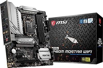 MSI MAG B460M Mortar WiFi Gaming Motherboard (mATX, 10th Gen Intel Core, LGA 1200 Socket, DDR4, CFX, Dual M.2 Slots, USB 3.2 Gen 1, 2.5G LAN, DP/HDMI, Wi-Fi 6 Pre-Certified)