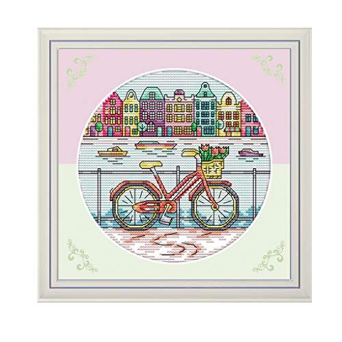 Rongzou Cross Stitch fiets 14CT voor beginnende kinderen of volwassenen, borduurwerk Naald Kit