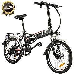 ANCHEER vélo électrique, vélo électrique de 20 pouces pour adultes avec batterie au lithium (250 W, 36 V) et 7 vitesses
