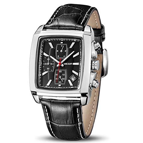 MEGIR Men's Business Analog Fashion Casual Chronograph Rectangular Luminous Quartz Wrist Watch with Black Leather Strap for Work & Sports (2028 Black)