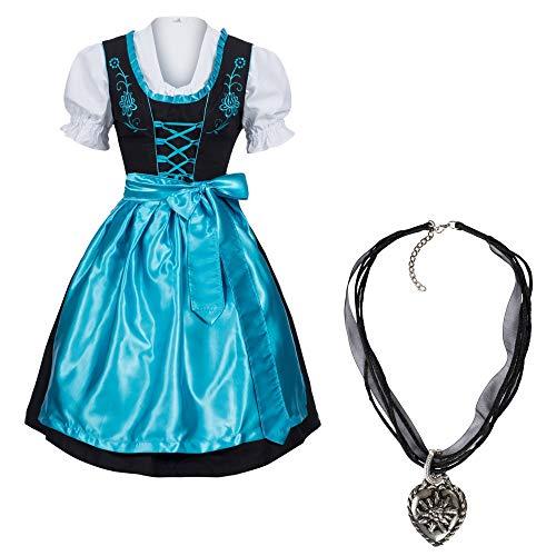 Mufimex Damen Dirndl Kleid Dirndlkleid Trachtenkleid Midi schwarz Leuchtend mit Halskette Hellblau 44