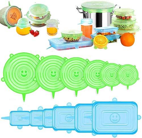 Coperchi in Silicone Elastici, 12 Pezzi Coperchi per Alimenti in Silicone Riutilizzabili Pacco Coperchi Espandibili Rettangolari Rotondi per l'Utilizzo in Microonde e Freezer