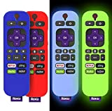 (4-Pack) for 3600R TCL Roku TV Stick Remote Case Cover,TOLUOHU for TCL Roku Remote Control,Cover Roku Express Skin Sleeve Silicone Shockproof with Lanyard-for RCAL7R/3921/3800/3810-Roku Remote Cover