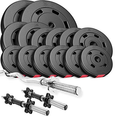 Hop-Sport Hantelset 56 kg, 1x SZ Stange, 2X Kurzhanteln, Hantelscheiben 2x10kg/2x5kg/4x2,5kg/6x1,25kg