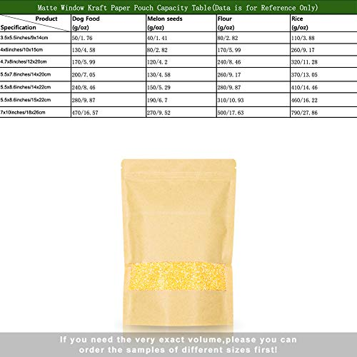 SumDirect 50pcs 4x6 Inch 1 oz Kraft Paper Bags with Window, Stand up Small Ziplock Paper Bags, Food Storage Pouch