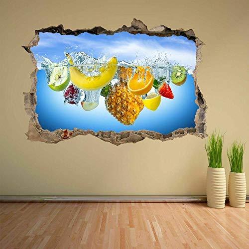 Pegatinas de pared Calcomanía mural desalpicaduras de agua de frutas frescasHome Shop Decoración de cocina CH12