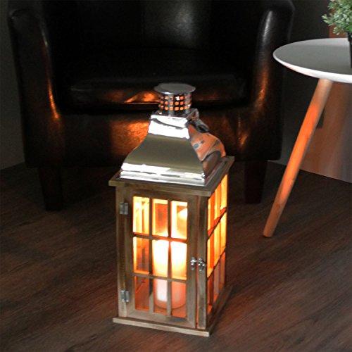 Wohaga Holzlaterne Holz Laterne Windlicht Gartenlaterne Gartenlampe Gartenleuchte mit Metalldach 20x20x47cm Holzgestell mit Glasfenstern Kerzenhalter Kerzenleuchter Gartendekoration Gartenbeleuchtung
