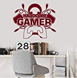 Hardcore Gamer Boy pared vinilo pegatina niños dormitorio sala de juegos decoración juegos de ordenador Joystick decoración de pared pegatinas creativas 42x34cm
