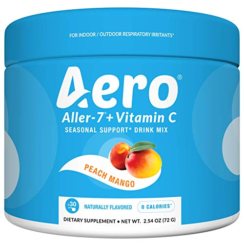 Aero Aller-7 Vitamin C Strawberry Kiwi Drink Mix (Stay Ahead of Seasonal Allergies, Respiratory Irritants, Everyday Immune Support, 30 Servings, Non GMO, Naturally Flavored)