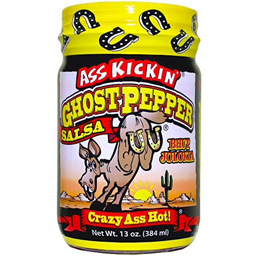 ASS KICKIN' Ghost Pepper Spicy Salsa - 13 oz - Premium Gourmet Spicy Hot Salsa for Tortilla Chips, Veggies, and Breakfast Burritos – Perfect Stocking Stuffers or Christmas Gifts - Try if you Dare!