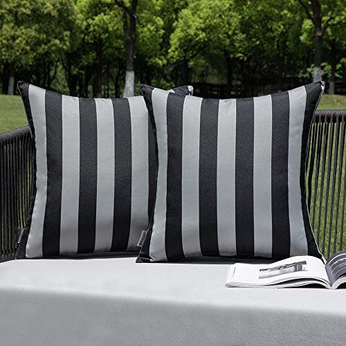 MIULEE Pack of 2 Outdoor Waterproof Cushion Covers Stripe Throw Pillow Cover Pillow Case Decorative for Garden Beach Park Bed Sofa Chair Bedroom Pillowcases 50x50 cm 20x20 inch Grey and Black