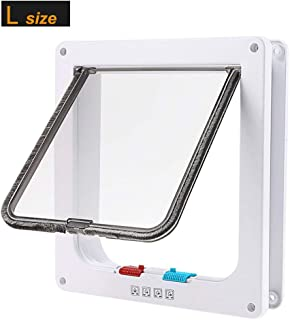 lucky treyvon Large Cat Door, (Outer Size 9.9 x 9.2 inch) 4 Way Locking Cat Flap Door for Interior Exterior, Pet Door, Compatible with Adult Cats and Small Dog