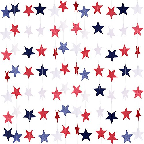 TecUnite 8 Strands Patriotic Star Streamers Banner Garland for 4th of July BBQ, Memorial Day,...