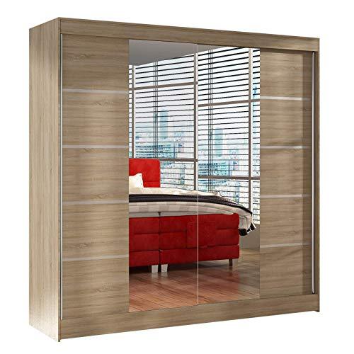 Schwebetürenschrank Basti V 200 cm mit Spiegel - Kleiderschrank mit 2 Türen, Kleiderstange und...
