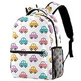 Colorido lindo patrón de coches mochila mochila de viaje casual mochila para mujeres adolescentes niñas niños