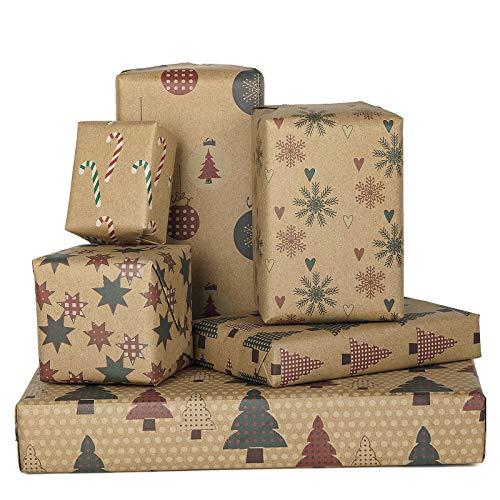 RUSPEPA Geschenkpapier-Kraftpapierblatt - Flach Gefaltet - 6 Verschiedene Weihnachtsmotive (45,2 Sq. Ft.Ttl.) - 70 cm X 1 m Pro Blatt
