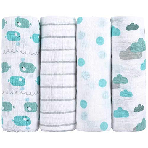 Premium Baby Mullwindeln Spucktücher 4er Pack, 70x70cm, Doppelt Gewebt, 100% Bio-Baumwolle, OEKO-TEX Zertifiziert, Flauschig Weich, Extra Saugfähig, Moltontücher von emma & noah (Wal Blau)