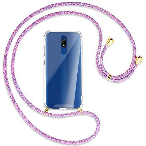 mtb more energy® Collar Smartphone para Xiaomi Redmi 8A (6.2'') - Unicornio Morado/Oro - Funda Protectora ponible - Carcasa Anti Shock con Cuerda Correa