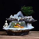Fuente de agua de mesa interior Zen cubierta de sobremesa fuente de agua de 11.8' de alta cascada de cerámica fuente decorativa y transparente acuario de escritorio de escritorio de la tabla Ministeri