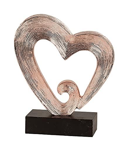 Mex Elegante Herz Skulptur in Kupferfarbe Herzform Modern Dekoobjekt Dekofigur 26cm Deko Geschenk Bürodeko Bürodekoration Liebe Hochzeit Geschenk Muttertag