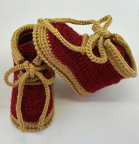 Patucos de ganchillo, tipo bota montaña, hechos a mano, para bebés de 0-3 meses. Temporada Otoño-Invierno. 60% Lana 40% Acrílico Dralón Hipoalergénico.