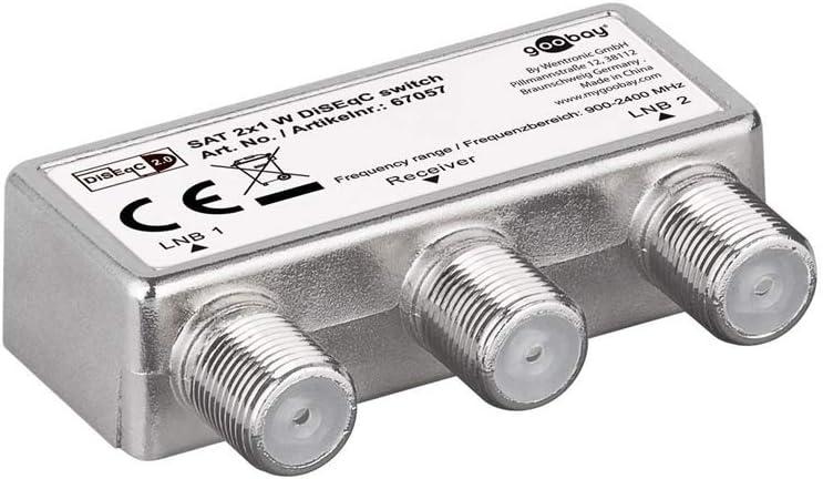 Wentronic 67057 - Conmutador para antena satélite (2 entradas, 1 salida), plateado (importado)
